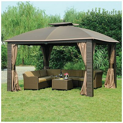 Wilson & Fisher® 10' x 12' Resin Wicker Riviera Gazebo at Big Lots .