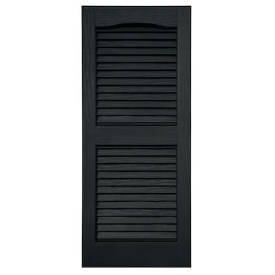 Severe Weather 2-Pack Black Louvered Vinyl Exterior Shutters .