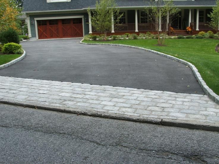 Like the blacktop and the paver combo. | Driveway design, Driveway .