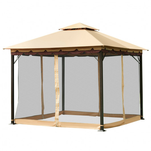 Gazebo 2-Tier 10'x10' Outdoor Patio Fully Enclosed Steel Fre .