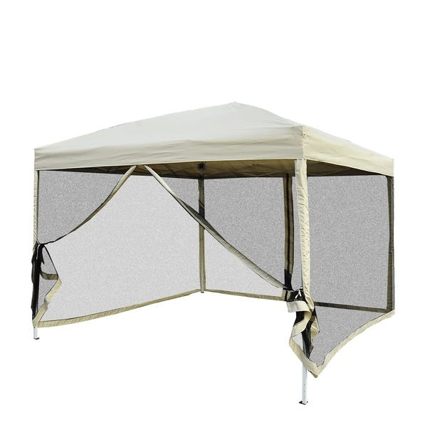 Shop Outsunny 10' x 10' Easy Pop Up Canopy Tent with Mesh Side .