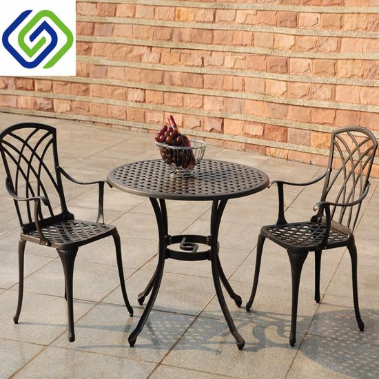 China Cast Aluminium Patio Dining Table Chair Furniture Set with .