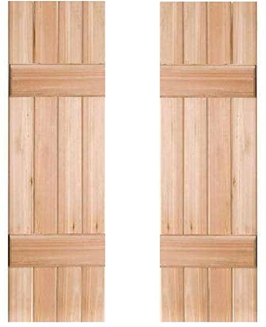 Amazon.com: Exterior Rustic Cedar Wood Window Shutters Board and .