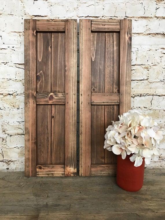 Farmhouse Framed Cedar Board & Batten Shutters Rustic Style | Et