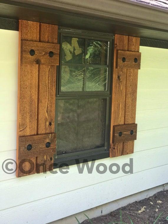 Stained cedar shutters exterior shuttersBoard and Batten | Et