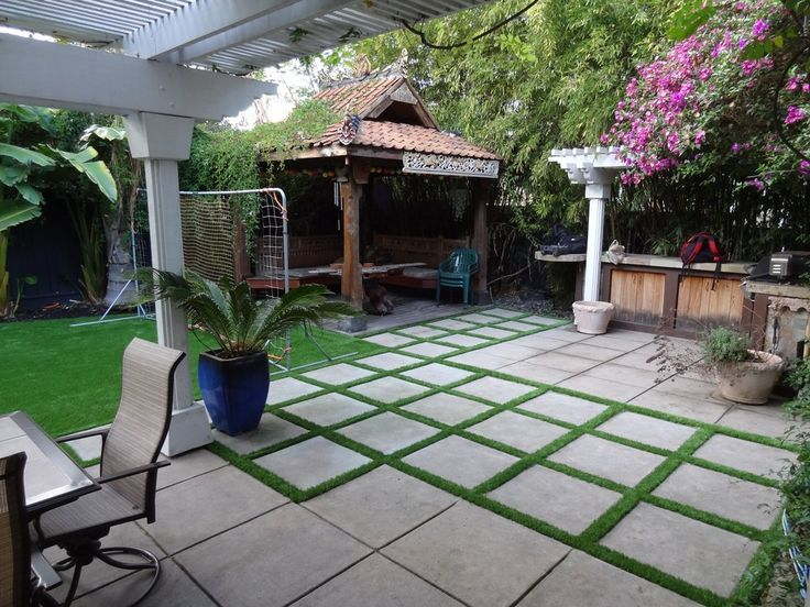 modern cement pavers with grass patio - Google Search (With images .