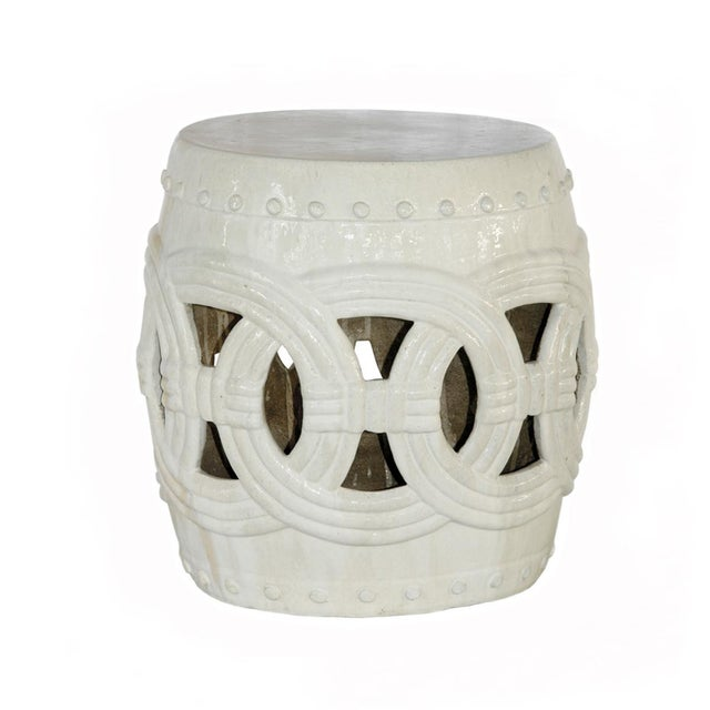 White Ceramic Garden Stool | Chairi