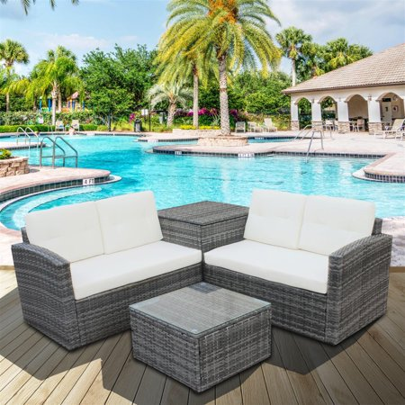 Clearance! Outdoor Patio Furniture Sets, 4 PCS Rattan Wicker .
