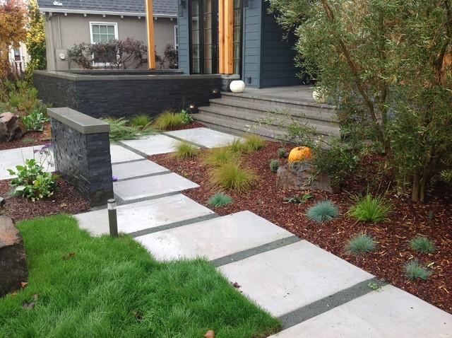 Willow Glen Modern-- modern platinum concrete stepping stones .