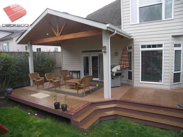 Craftsman Style Covered Deck Photo in 2020 | Covered patio design .