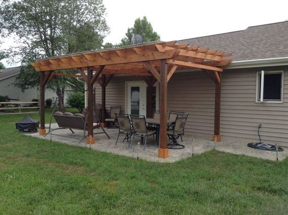Covered Pergola Plans 12x20' Build DIY Outside Patio by .