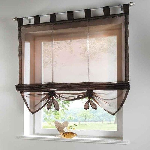 Short Kitchen Curtain Solid Sheer Cortinas 7 Color Roman Curtain .