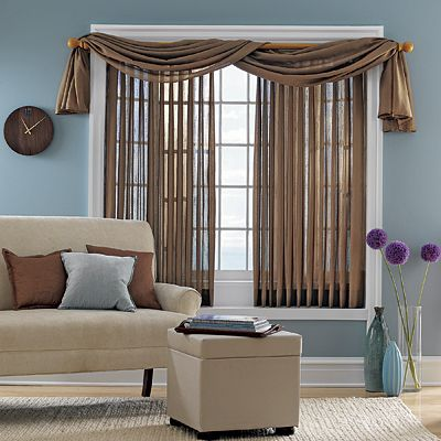 cover vertical blinds with sheer fabric | Living room blinds .