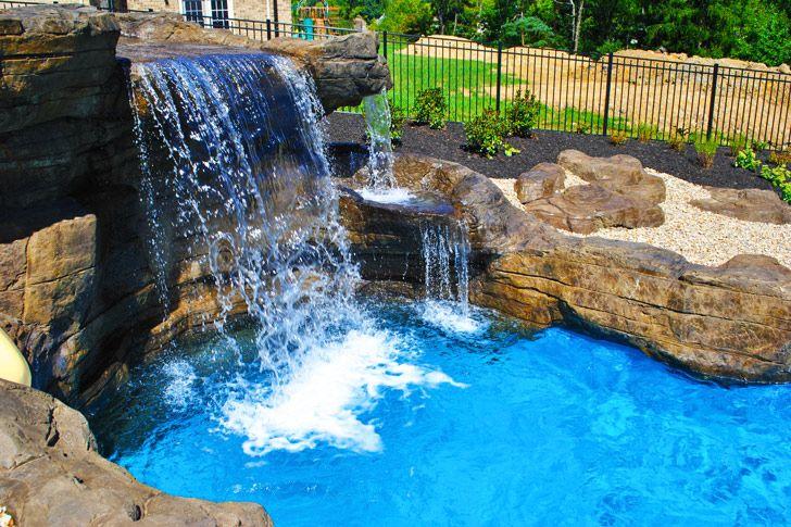 Custom Pool and Waterfall. Creative Pool Designs and Artistic Hand .