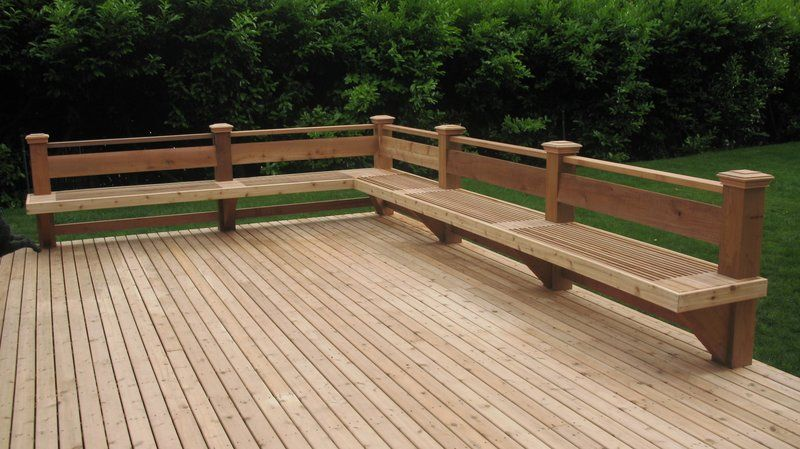 Straight Cedar deck and bench in Bellevue   Deck seating, Building .