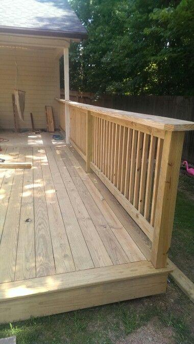 My deck... Rail | Wood deck, Wood deck railing, Patio raili