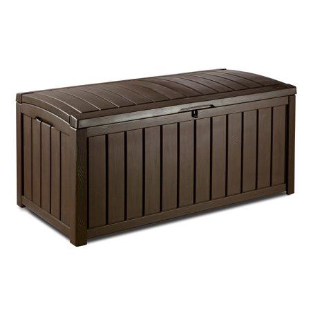 Keter Glenwood Outdoor Plastic Deck Storage Box 101 Gal, Brown .