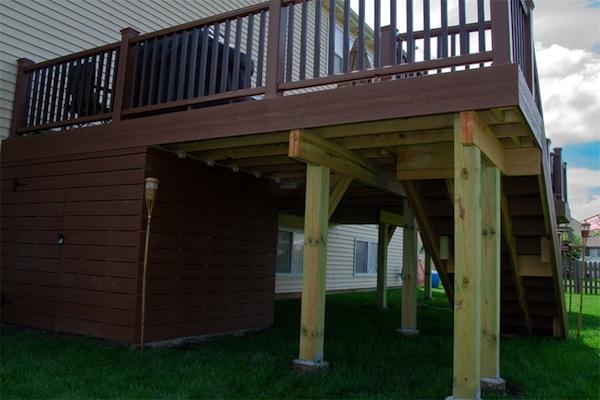 Trex® Deck with Under Deck Storage Shed Round Lake | Rock Solid .