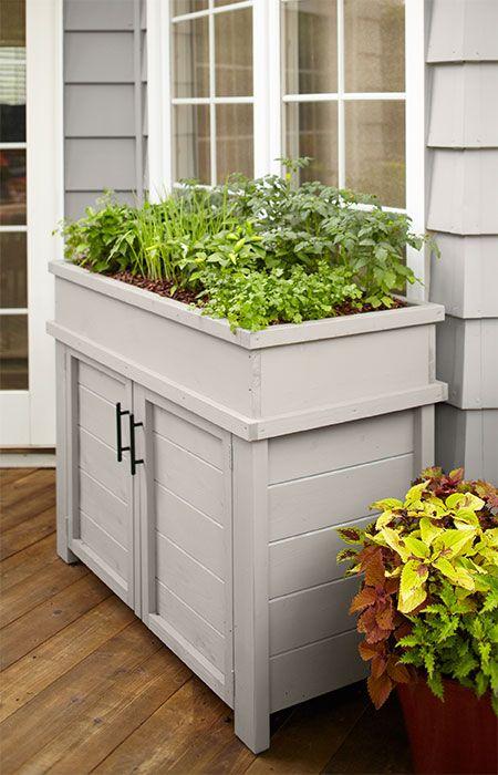 Raised Planter with Storage in 2020 | Front porch garden, Porch .