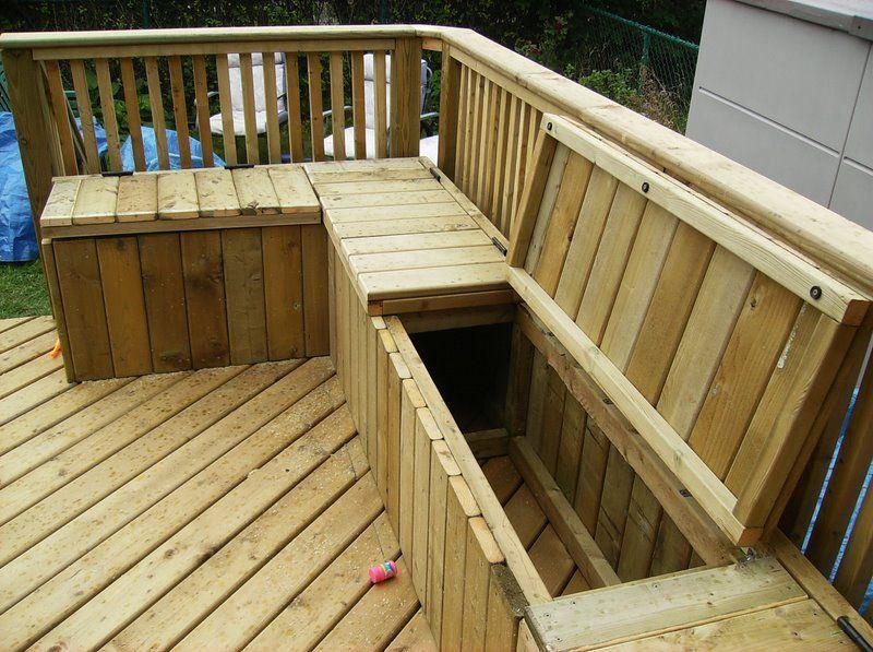 Building a Wooden Deck Over a Concrete One | Garden storage bench .