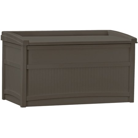 Suncast 50 Gallon Outdoor Resin Deck Storage Box with Seat, Java .