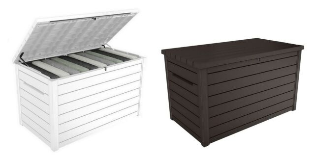 Keter 71 Gal. Outdoor Patio Storage Resin Deck Box, Brown for sale .