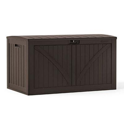 Suncast 134-Gallon Outdoor Resin Deck Storage Box with Seat, Java .