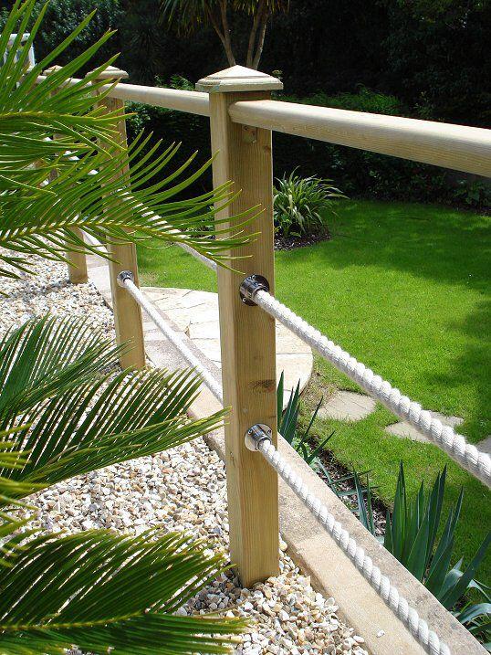 Post & rope decking boarder   Deck garden, Garden railin