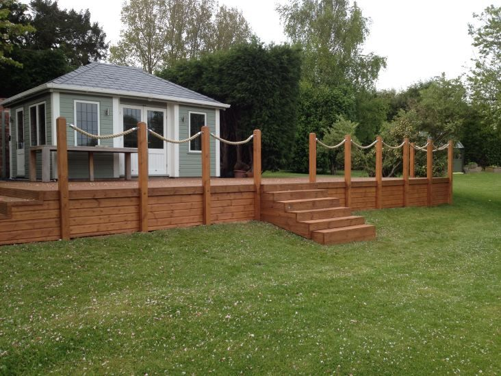 Synthetic Hemp Garden Rope Fence along Raised Decking   Rope fence .
