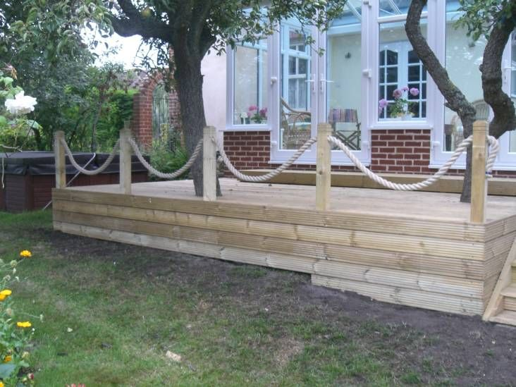 Whipped Synthetic Hemp Rope Garden Decking from RopeandSplice.co .