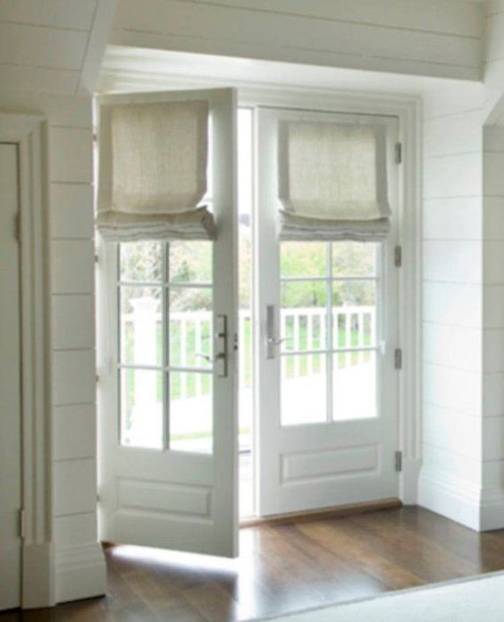 Roman shades for french doors shades for door linen natural white .