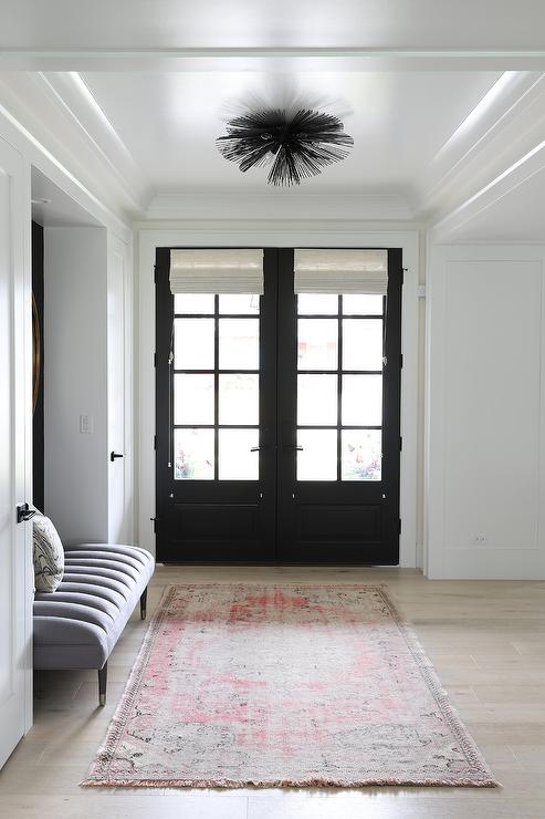 Black Front Door With White Roman Shades Design Ide