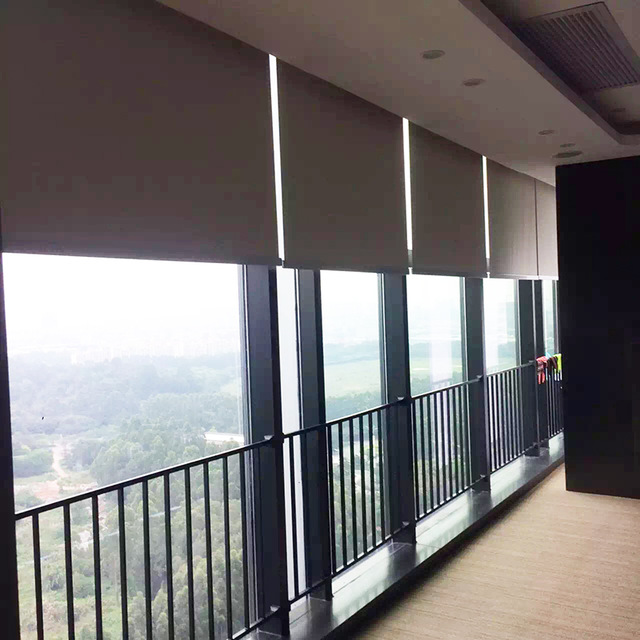 Cheap Fan Shaped Electric Window Perforated Cassette Roller Blinds .