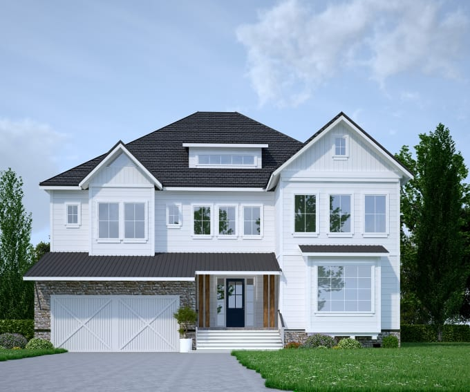 Design and render 3d house floorplans, exterior landscape by .