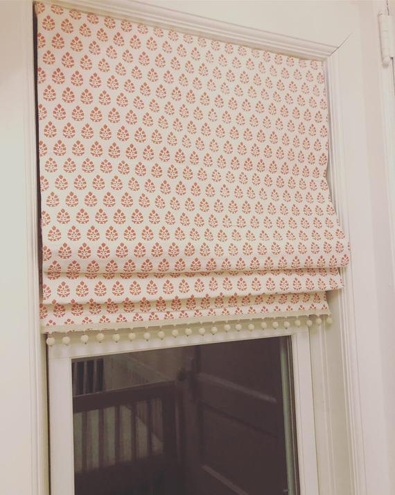 Custom Roman Shade Blackout Shades Flat Classic Fabric Roman   Et