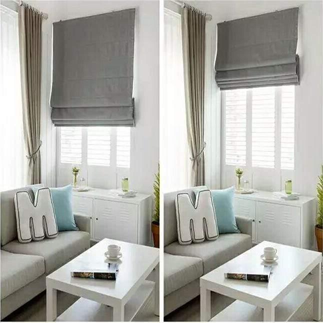 Roman Shades / Window Blind Fabric Curtain Drape Blackout Curtains .