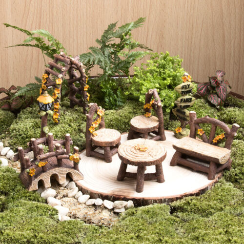 Miniature Fairy Garden Furniture Resin Tree Stump Bridge Ornament .