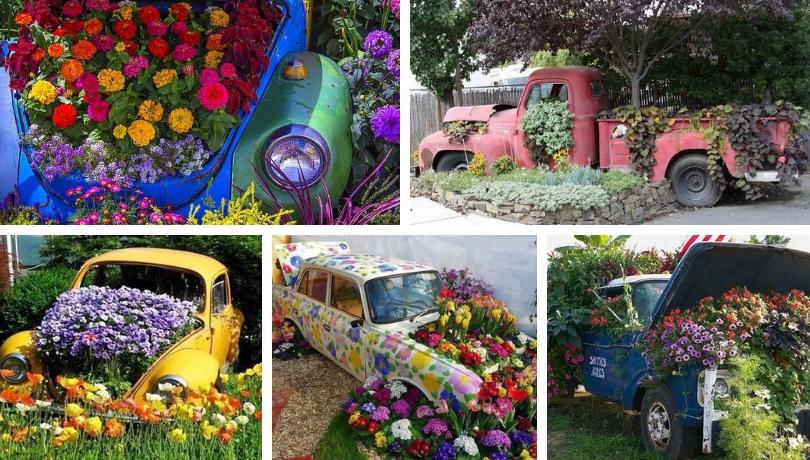 Spectacular DIY car flower bed ideas | My desired ho