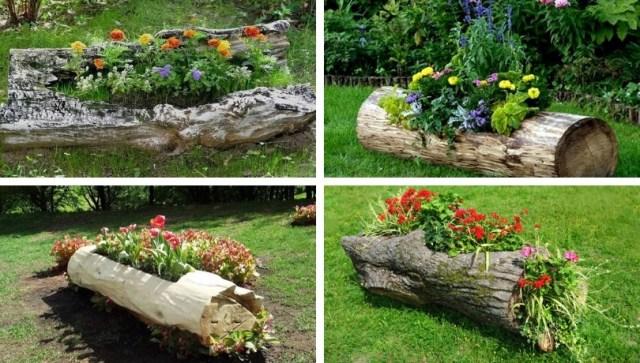 Incredibly beautiful DIY flowerbed ideas from logs - original .