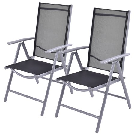 Costway Set of 2 Patio Folding Chairs Adjustable Reclining Indoor .