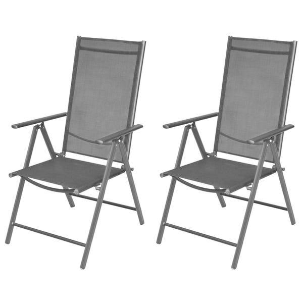 Shop Folding Garden Chairs 2 pcs Aluminium and Textilene Black .