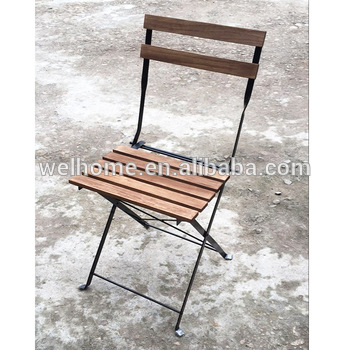 Metal French Cafe Bistro Garden Folding Chair With Steel Frame .
