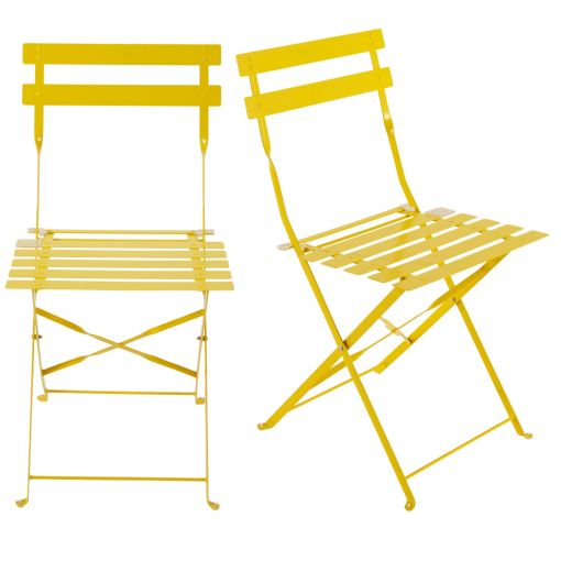 2 metal folding garden chairs in yellow Confetti, CONFETTI .