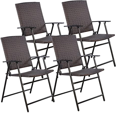 Amazon.com: Tangkula 4 PCS Folding Patio Chair Set Outdoor Pool .