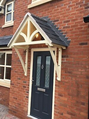 """Timber Front Door Canopy Porch, """"BLAKEMERE Curved GALLOWS""""awning ."""