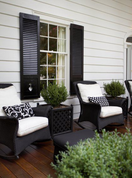 Paint shutters black to match wicker and black front door? would .