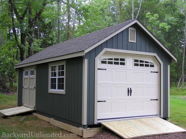 12'x24' Custom Garden Shed Garage with Heritage Garage Door .
