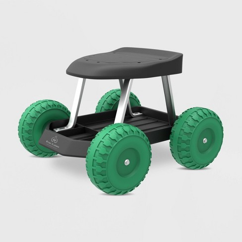 """19"""" Steel Garden Cart Rolling Scooter Green - Pure Garden : Targ"""