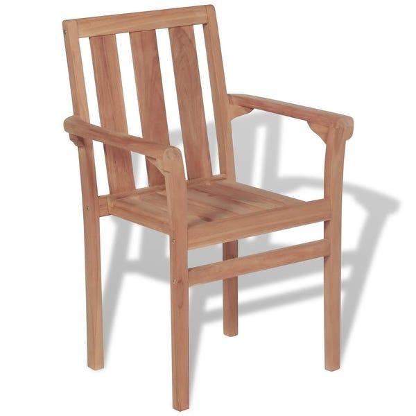 Shop vidaXL Stackable Garden Chairs 2 pcs Solid Teak Wood .