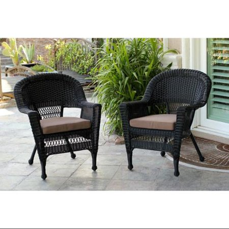 Set of 4 Black Resin Wicker Outdoor Patio Garden Chairs with Brown .